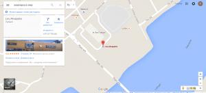 На фото изображена карта с местоположением аквапарка Ливу