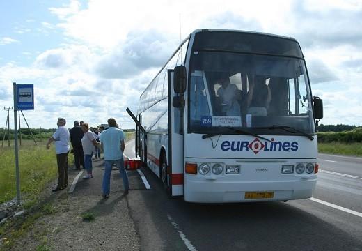 На снимке автобус, следующий из С-Петербурга в Таллин