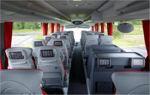 На снимке показан автобус Люкс Экспресс изнутри