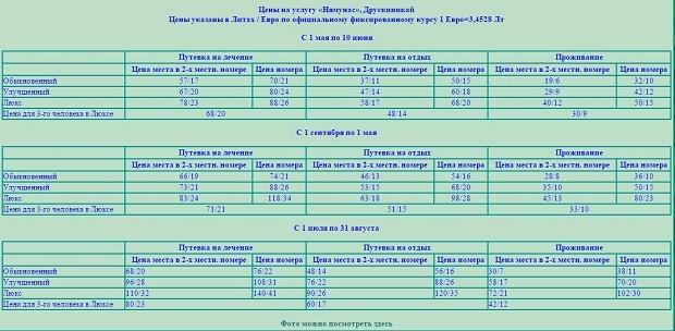 На фото можно ознакомиться с ценами на проживание в санатории Нямунас