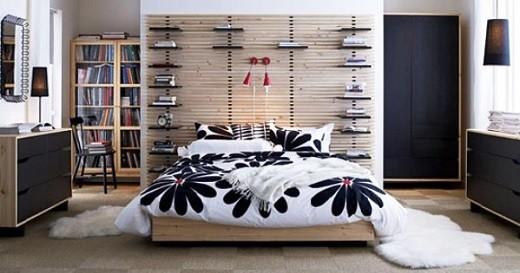 На снимке изображена спальня Икеа