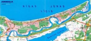 На рисунке изображена карта Юрмалы с подробным описанием достопримечательностей