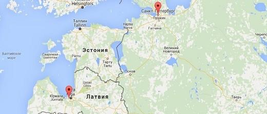 На снимке можно посмотреть карту маршрута, по которому движется автобус Рига-Санкт-Петербург