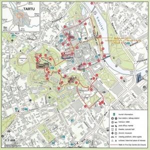 Карта Тарту с указанием достопримечательностей
