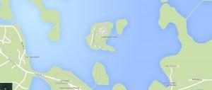 На карте показано местоположение Тракайского замка и его вид сверху