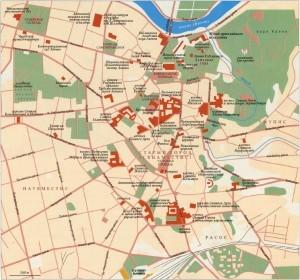 Карта Вильнюса на русском языке с достопримечательностями