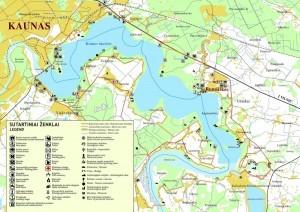 На фото изображена карта достопримечательностей Каунаса