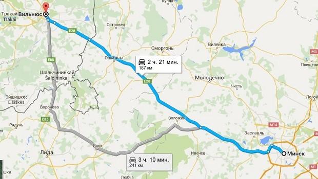 На фото изображен маршрут, которого придерживаются автобусы, следующие маршруту Минск-Вильнюс и обратно