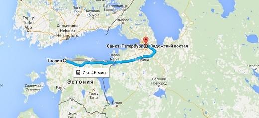 На фото карта, по которой можно посмотреть маршрут поезда Таллин-Санкт-Петербург