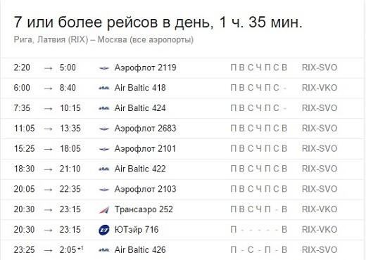 На снимке изображено подобное расписание рейсов Рига-Москва