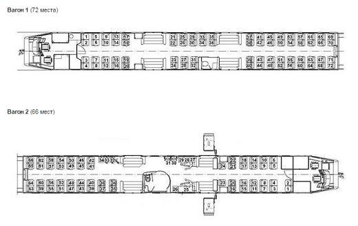 На фото представлена схема расположения мест в вагонах поездов № 808/807 и 804/803