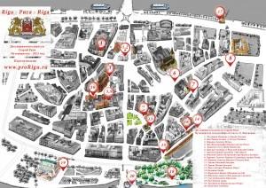Карта достопримечательностей Риги на рисунке