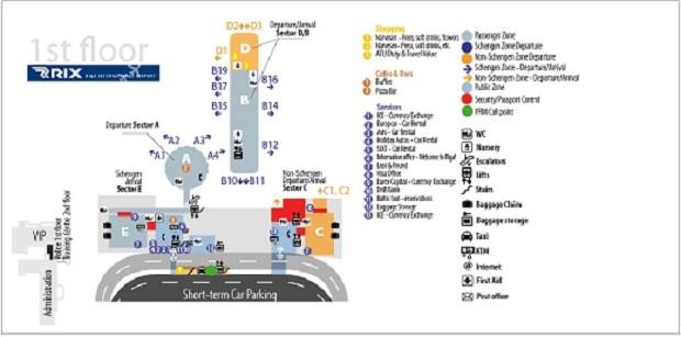 На фото изображена схема Рижского аэропорта