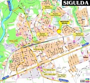На картинке подробная карта города Сигулда