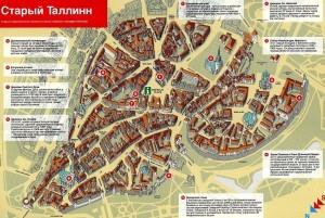Карта старого Таллина с достопримечательностями на русском языке