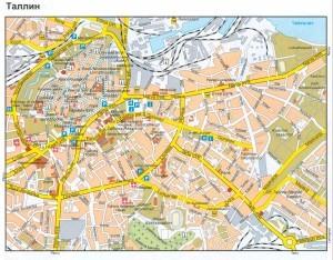 Google карта старого Таллина с указанием достопримечательностей