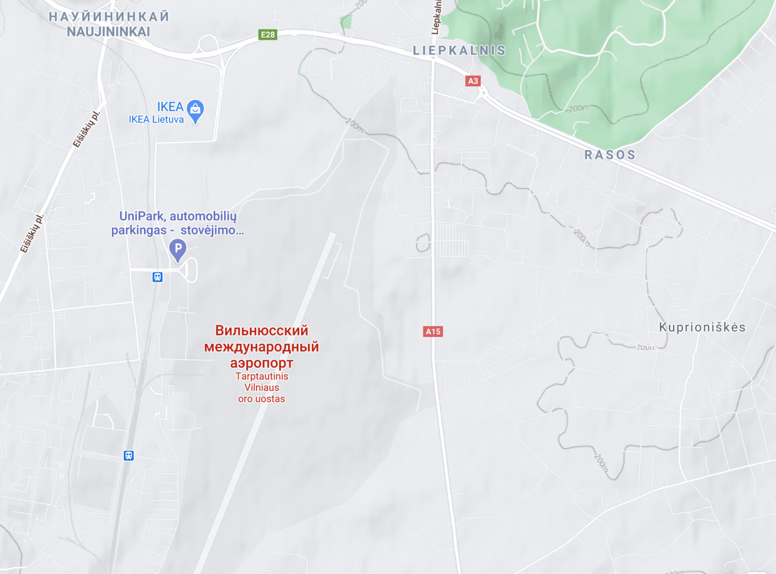 Местоположение аэропорта на карте
