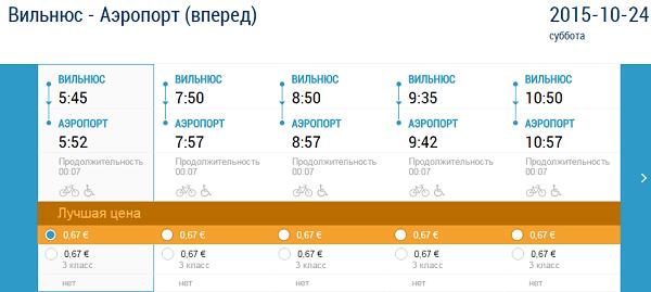 Расписание движения поезда, следующего из ж/д вокзала в Вильнюсе до аэропорта Вильнюса