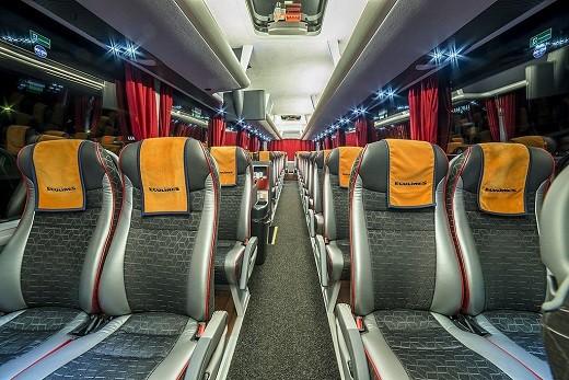 Автобус Ecolines Рига-Москва изнутри на снимке