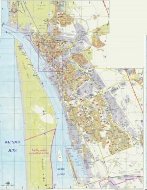 На снимке показана карта Клайпеды с достопримечательностями