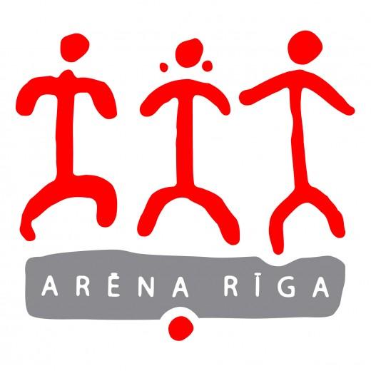 Брендовый знак Арены в Риге на снимке