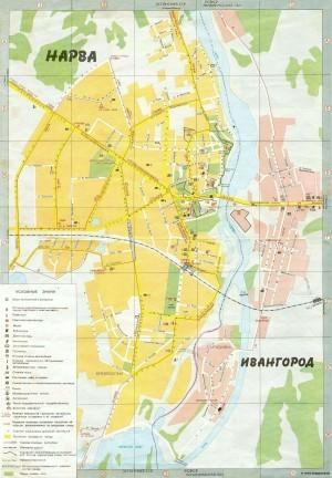 На фото представлена карта Нарвы