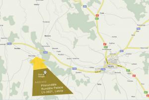 Рундальский дворец на карте Латвии