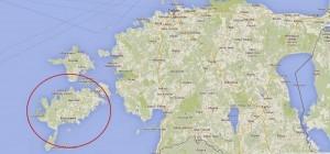 Остров Саарема на карте обведен красным цветом
