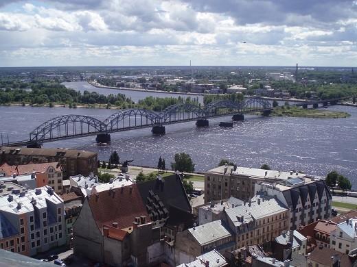 Река Даугава в Риге на фотографии