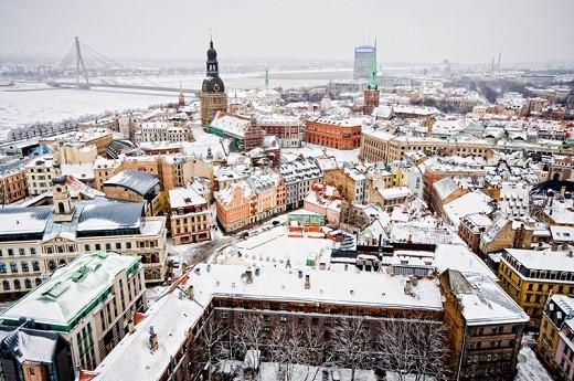 Зимняя Рига изображена на снимке
